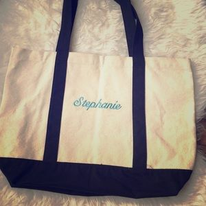 Handbags - Canvas tote with Stephanie in light blue